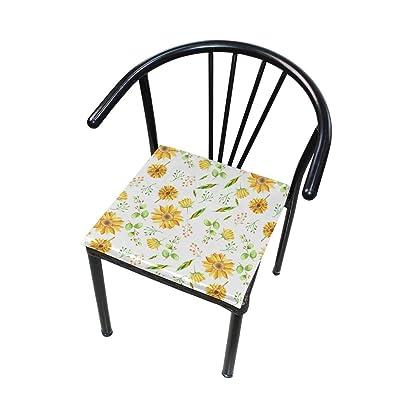 Bardic FICOO Home Patio Chair Cushion Sunflower Leaf Painting Square Cushion Non-Slip Memory Foam Outdoor Seat Cushion, 16x16 Inch: Home & Kitchen