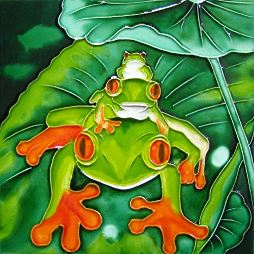 Frog Tile (Continental Art Center BD-2355 Art Tile 8x8 Art Tile-A Stack of Frogs)