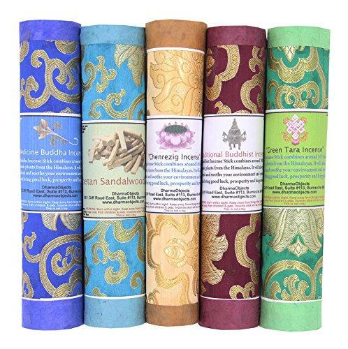 - DharmaObjects 5 Packs Variety Tibetan Spiritual and Medicinal Incense Sticks