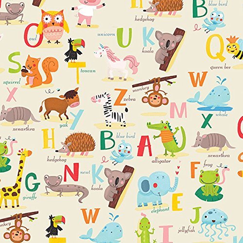 Alphabet Baby Abc's Animals Gift Wrap Wrapping Paper - 15 Foot Roll Buttons Bags and Bows