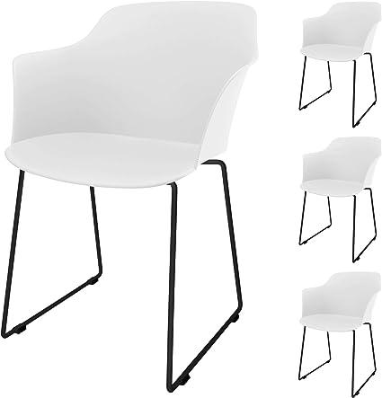Cepewa Set Di 4 Sedie Per Sala Da Pranzo Con Base In Metallo E Braccioli Stabile Struttura In Plastica Amazon It Casa E Cucina