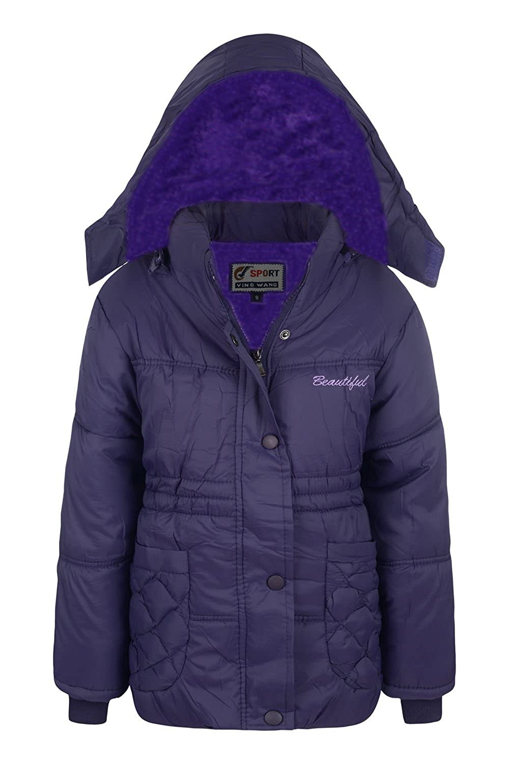 a40070175f42 New Girls Coat School Padded Hooded Jacket Age 3 5 6 8 9 10 13 Years ...
