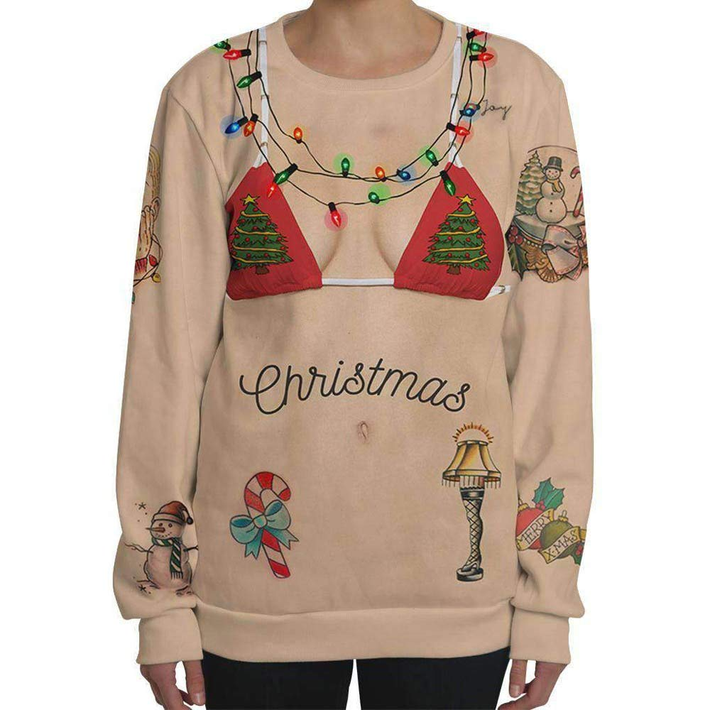 pitashe Noël Sweat Femme Ugly Christmas ImprimÉEs Impression 3D de Noël O Cou De Manche Longue Noël Tops Sweat à Capuche Sweat-Shirt Blouse T-Shirt Xmas Décontractée Pulls Femme Sweats Chemisier