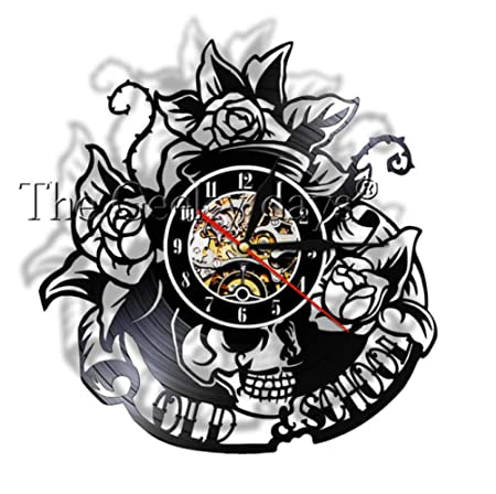 MUMUSO Tatuaje De Calavera Tradicional Reloj De Registro De CD ...