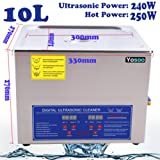 Digital Ultrasonic Cleaner, Large Capacity Stainless Steel with Heater and Digital Timer for Electronic Tool Jewelry Watch Glasses Rings (10L)