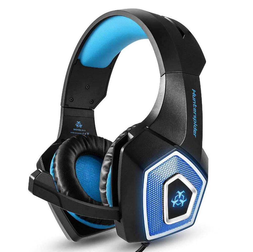 New Gaming Headset,Internet Cafe Gaming Headphones Illuminated Wired Headset Heavy Bass Headset with Mic (Color : 1)