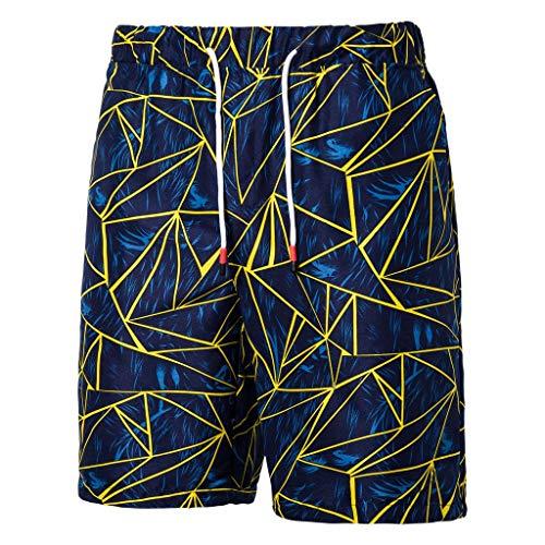 khdug✿Shorts for Men, Hawaiian Summer Jogging Elasticated Waist Sports Work Casual Printed Beach Pants Trousers Blue