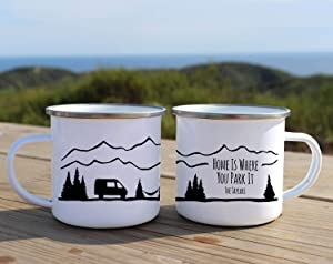 Camping mug Home Is Where You Park It Custom enamel mug Adventure mug Camping gift for dad Rustic coffee mug camper decor ONE MUG