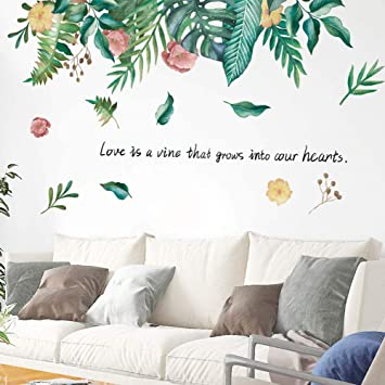 Iwallsticker 3837inch Flower Leaves Wall Sticker Wall Decal Removable Diy Wallpaper Decorative Wall Art For Home Green Plants Window Door Wall Sticker