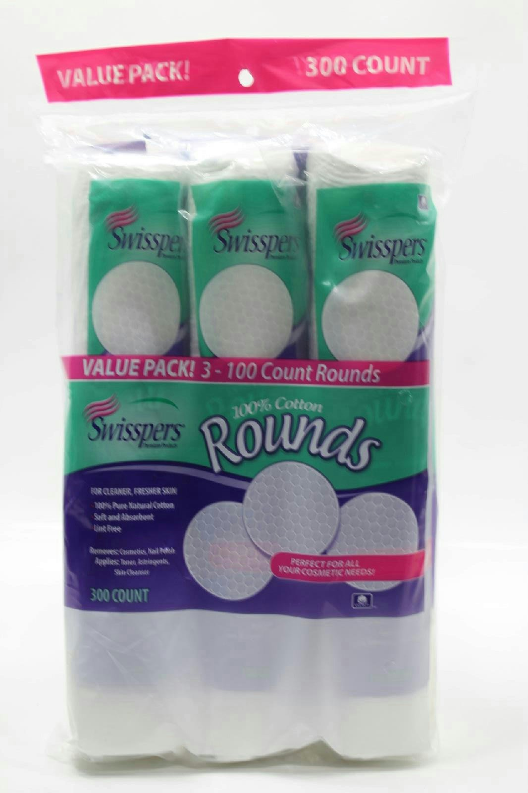 Swisspers 100% Cotton Rounds 300 Count Value Pack