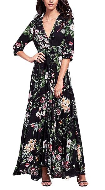 Vestido Largo Verano Mujer Elegantes Vintage Boho Flores Estampado Vestido Playa Manga Fiesta Estilo 3/4 V Cuello Talle Alto Casual Fashion Vestidos Largos ...