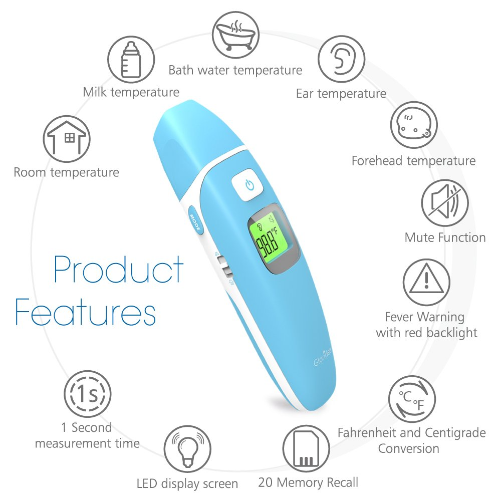 Ear and Forehead Thermometer Medical Baby Thermometer, Professional Precision Infrared Digital Thermometer, 1 Second Measurement Time Memory Recall and Fever Warning,Blue Gloridea by Gloridea (Image #2)