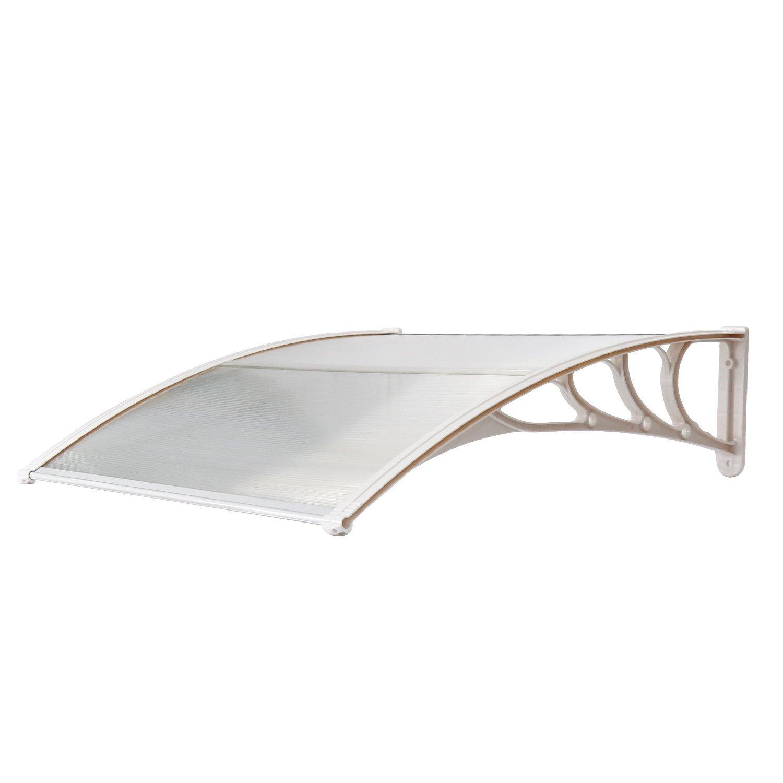 HENGMEI 90x200cm Vordach Haust/ür /Überdachung Haust/ürvordach Pultvordach T/ürdach Regenschutz Wei/ß Transparent Kunststoff