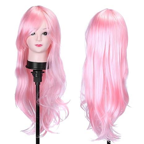 Peluca rizada de 80 cm de largo dice que las mujeres usan la peluca cosplay peluca