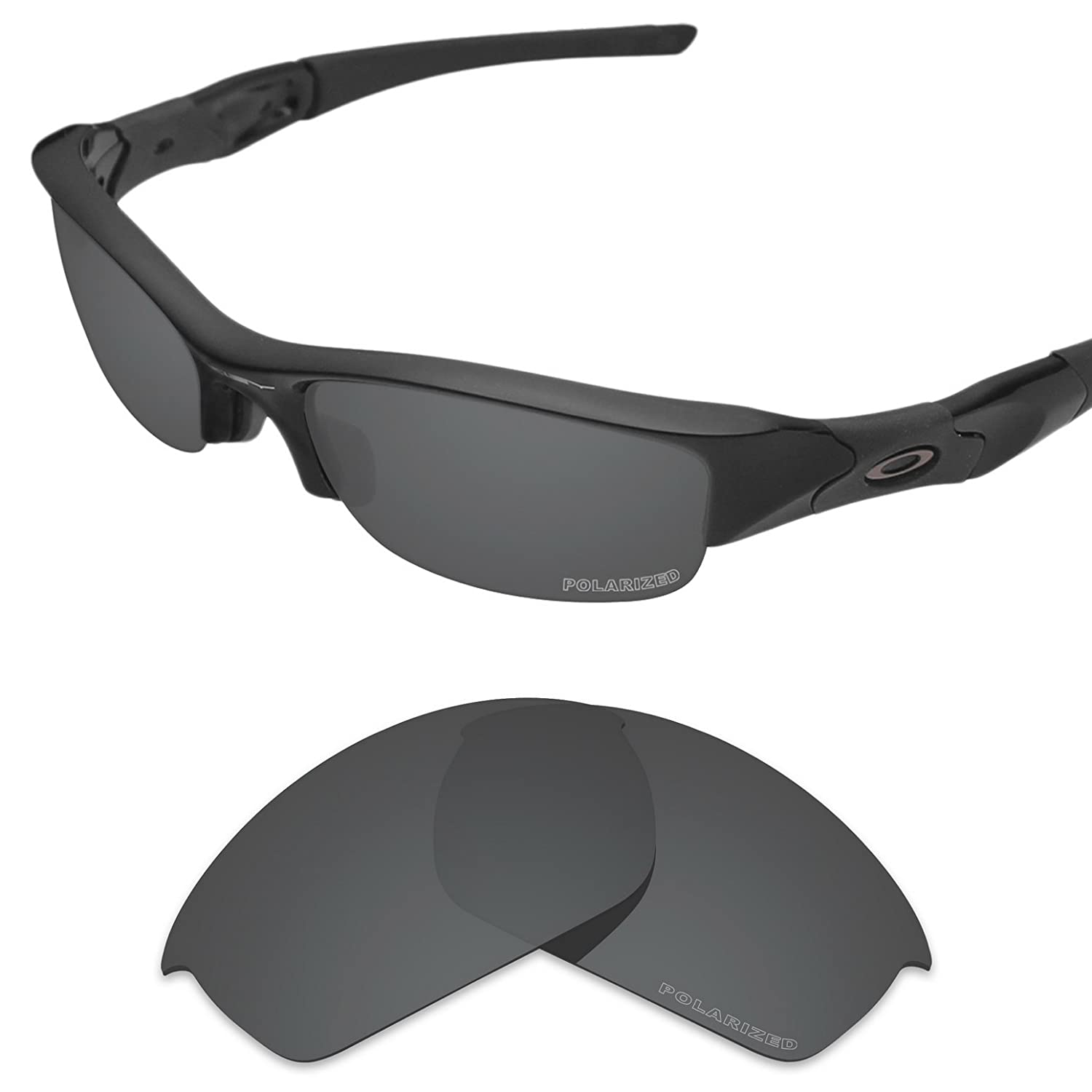 ee4c222a63d Amazon.com  Tintart Performance Lenses Compatible with Oakley Flak Jacket  Polarized Etched-Carbon Black  Clothing