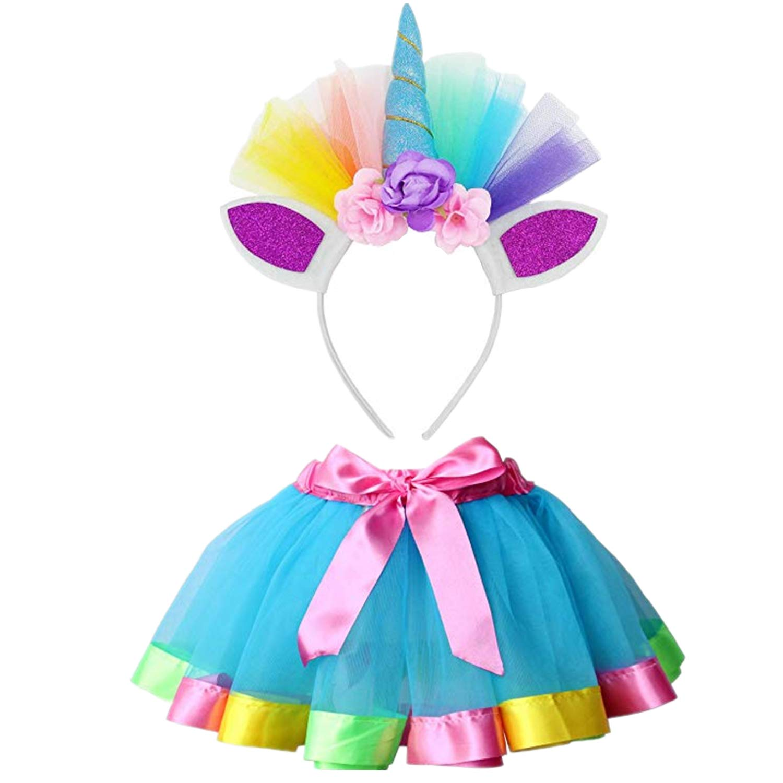FZAY Little Girls Layered Rainbow Tutu Skirts with Unicorn Headband for Birthday