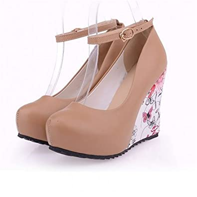 a83d90ea48 Twinkle UU Wedges High Heels Party Pumps Ankle Strap Bohemia Flower  Printing Round Toe Platform Women