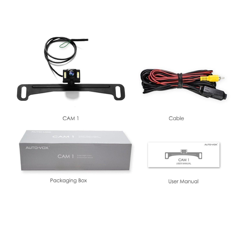 AUTO-VOX CAM1 Cámara de marcha atrás visión nocturna Leds con capteur-g cámara trasera de placa de matrícula IP68 impermeable adaptado a la mayoría: ...
