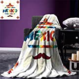 smallbeefly Mexican Custom Design Cozy Flannel Blanket Mexico Traditional Aztec Motifs and Sombrero Straw Hat and Moustache Graphic Print Lightweight Blanket Extra Big Multicolor