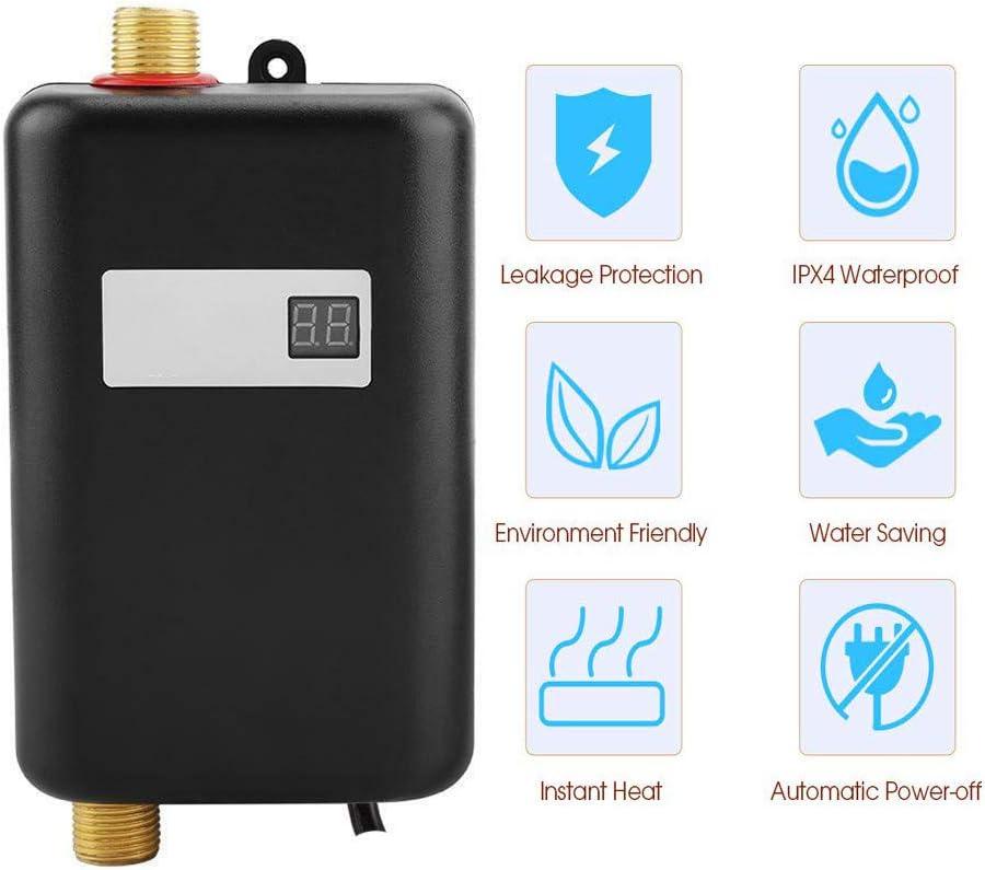 220V 3400W Mini Calentador de Agua Caldera de Ducha Eléctrica sin Tanque Sistema de Calefacción de Baño para Baño Cocina Lavado del Hogar (Negro)