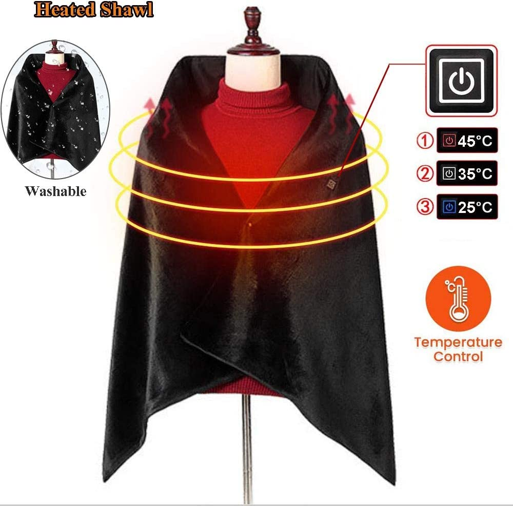 Heated Shawl Battery Operated Cordless Wrap for Women,Plush USB Heated Throw Blanket Pad with Auto Shut Off,Heated Cape Heating Lap Blanket for Car Office Chair Washable