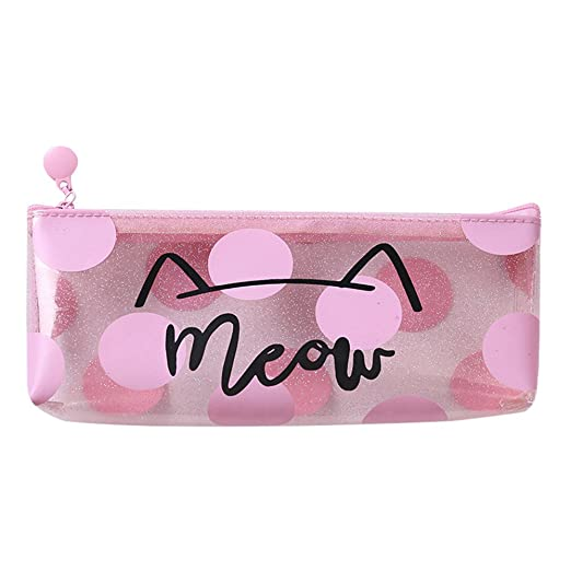 Amazon.com: Fashion Transparent Jelly Pencil Case Cartoon Cute Cat Printed Scool Stationery Pencil Bags Large Storage Make Up Cosmetic Bags Scool Stationery ...