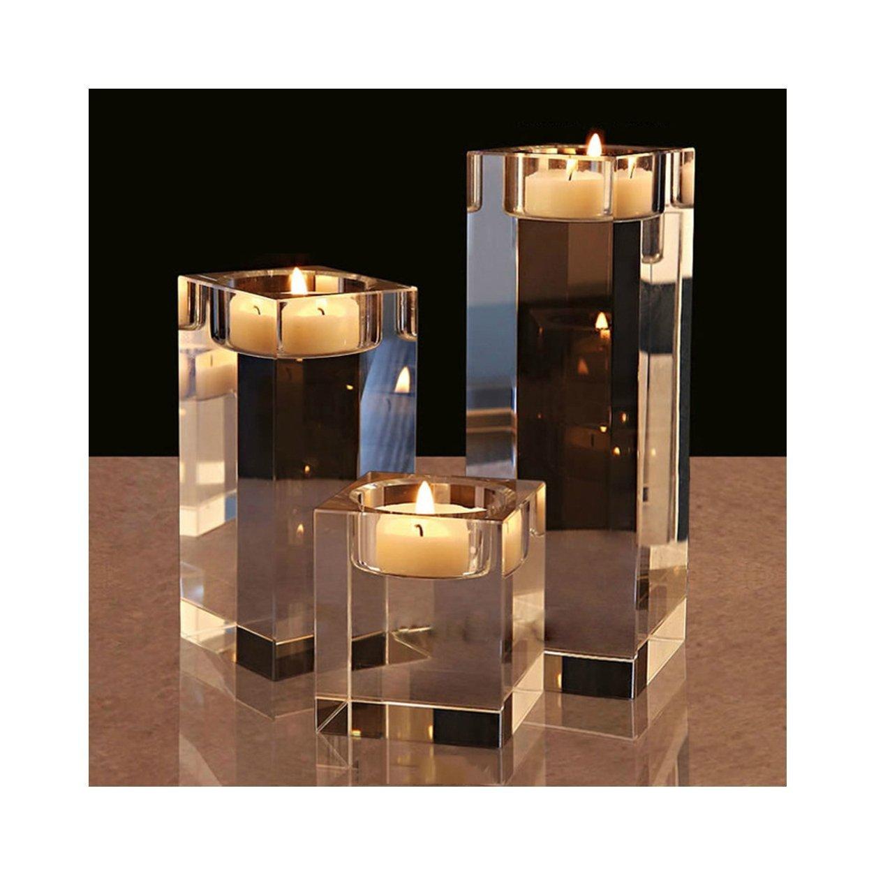 COM-LIFE Set of 3 Elegant Crystal Tealight Holders