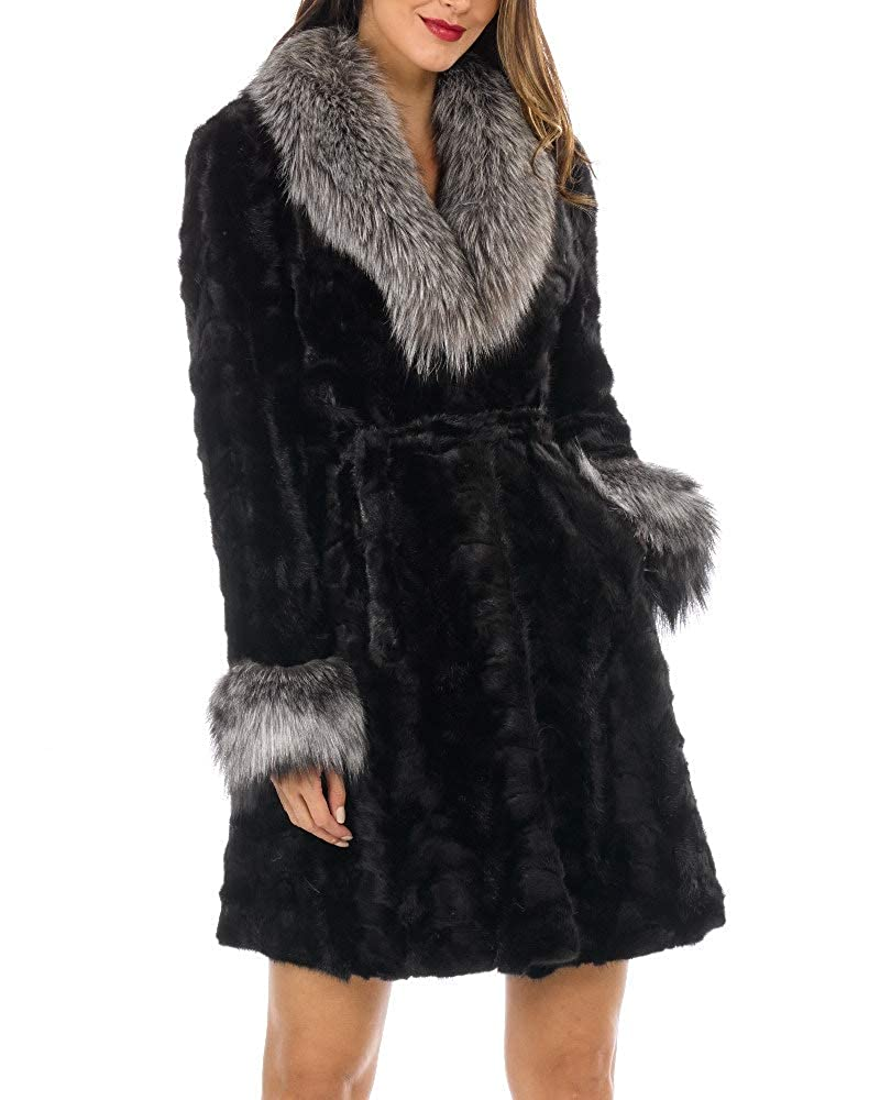 Frr Real Sculptured Fur Coat  Mink Fur with Silver Fox Fur Collar