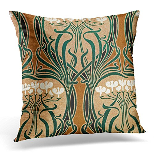 TORASS Throw Pillow Cover Floral Vintage Nouveau Design Arts Decorative Pillow Case Home Decor Square 16 x 16 Inch Pillowcase