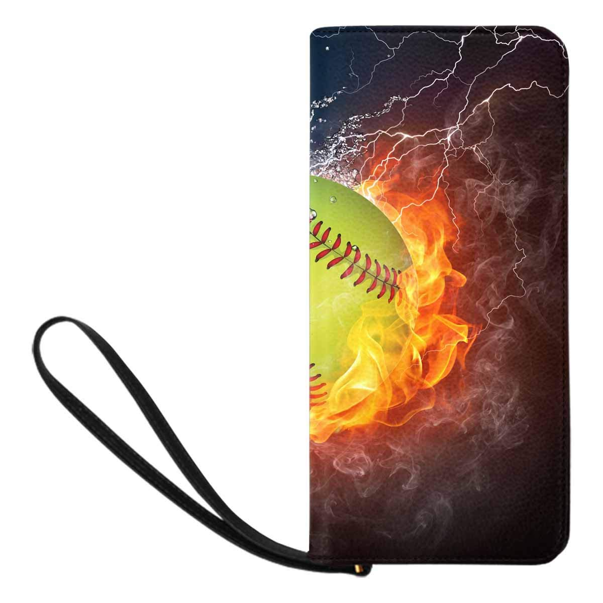 InterestPrint Womens Baseball Ball on Fire and Water Clutch Purse Card Holder Organizer Ladies Purse