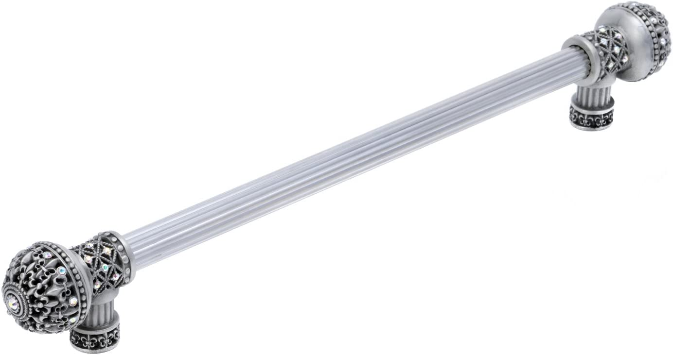 Carpe Diem Hardware 7647-11AB Versailles Fleur De LYS 9-Inch O.C. Long Pull Large Finial with Swarovski Crystals, Satin