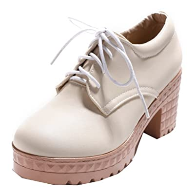 AgooLar Femme Lacet Fermeture D orteil à Talon Correct Chaussures Légeres 5318349f36b