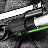 Hotianq Tactical Hunting Green Laser Sight Scope CREE Q5 LED Flashlight Light Combo Picatinny Mount for Glock 17 19 22 20 23 31
