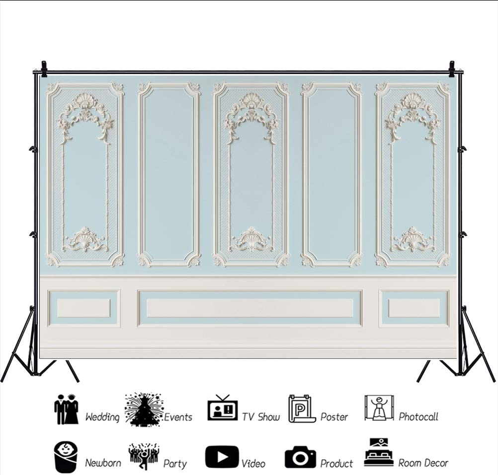YEELE 12x8ft Palace Interior Backdrop Blue Interior Wall Photography Background Church Service Wedding Bridal Shower Kids Adults Portrait Photo Booth Studio Props Digital Wallpaper