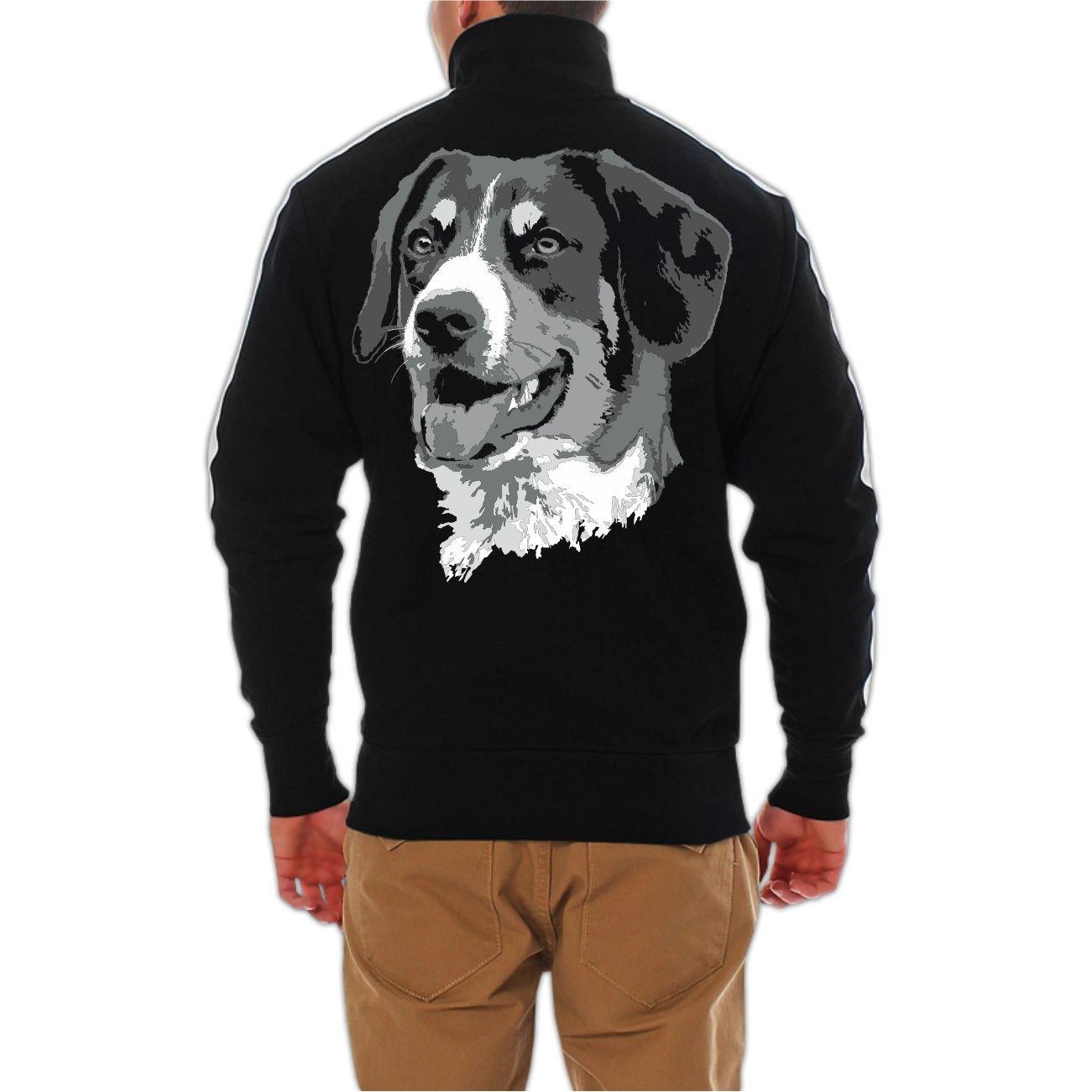 mit R/ückendruck M/änner und Herren Freizeitjacke Gro/ßer Schweizer Sennenhund