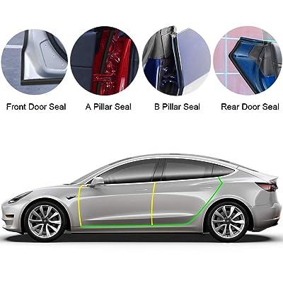 BASENOR Tesla Model 3 Model Y Model S Door Seal Kit Soundproof Rubber Weather Draft Seal Strip Wind Noise Reduction Kit: Automotive [5Bkhe0415045]