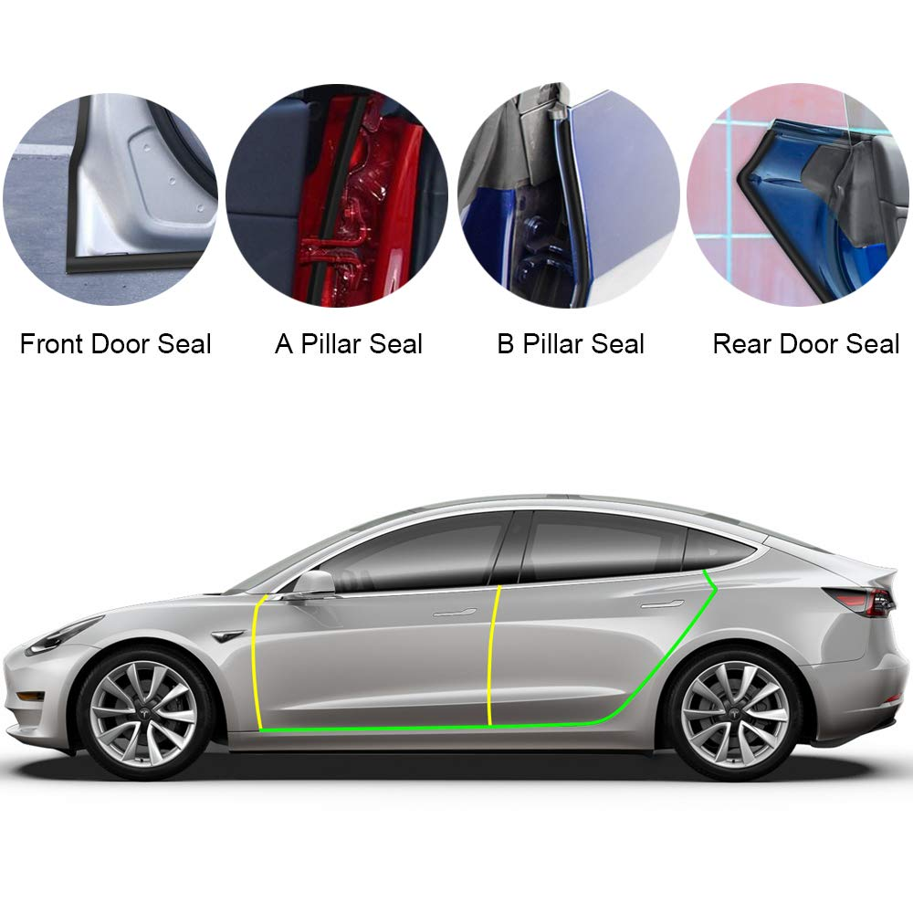 Amazon com: BASENOR Tesla Model 3 Door Seal Kit Soundproof