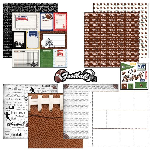 Scrapbook Customs Themed Paper and Stickers Scrapbook Kit, Football Journal