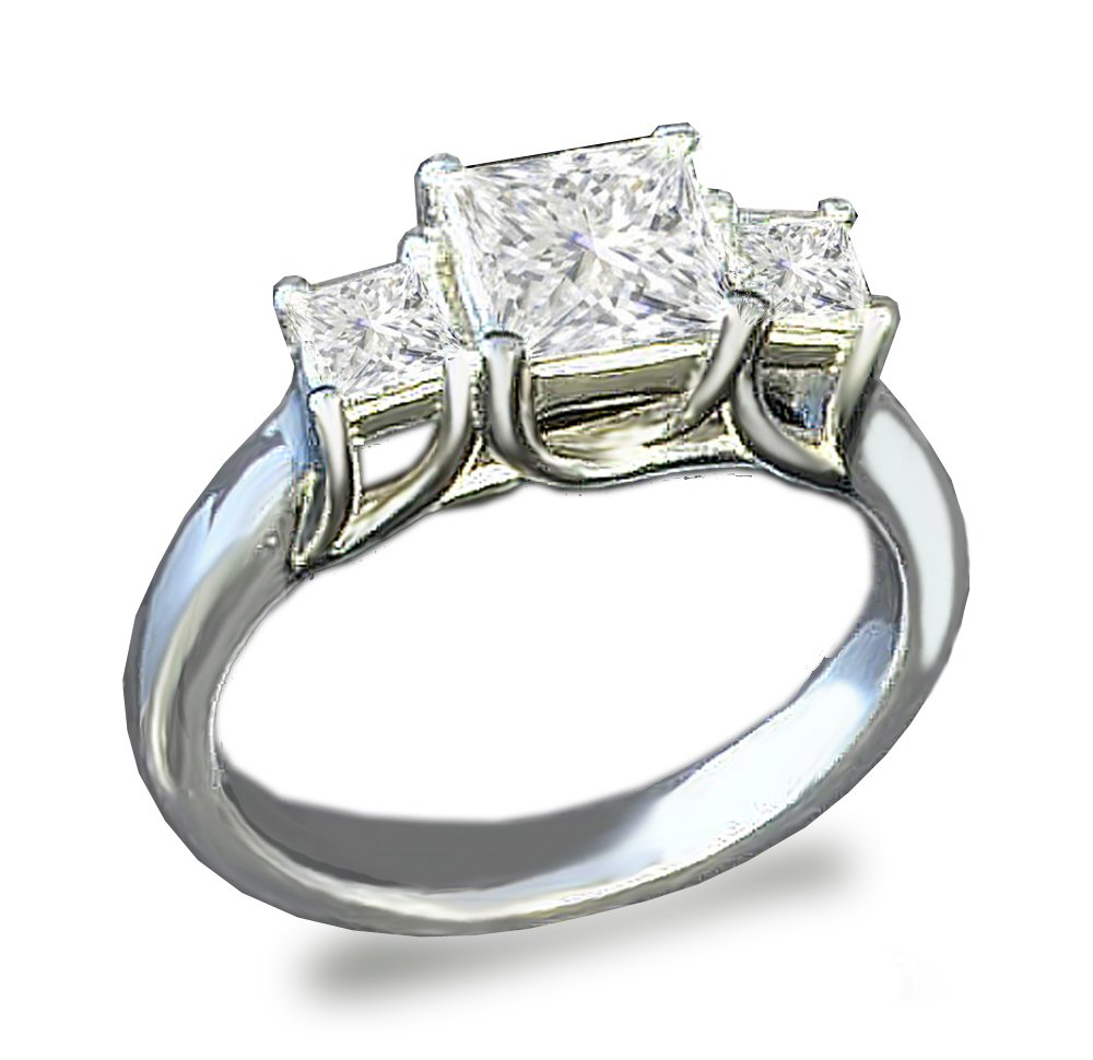 Venetia 3-Stones Supreme Top Grade Realistic Princess Cut Simulated Diamond Ring 925 Silver Platinum Plated cz cubic zirconia (4.5)