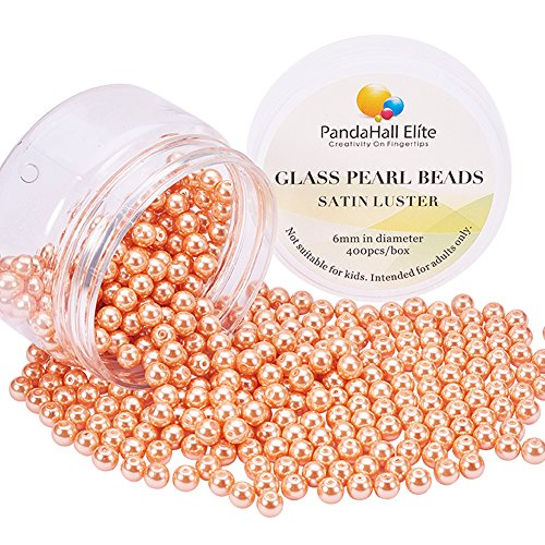 (PandaHall Elite 6mm About 400Pcs Tiny Satin Luster Dyed Glass Pearl Round Beads Assortment Lot for Jewelry Making Round Box Kit Anti-flash Coral)
