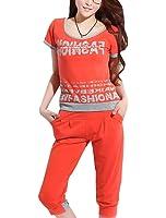 uxcell Women Short Sleeve Letters T-shirt w Stretchy Waist Capris Pants