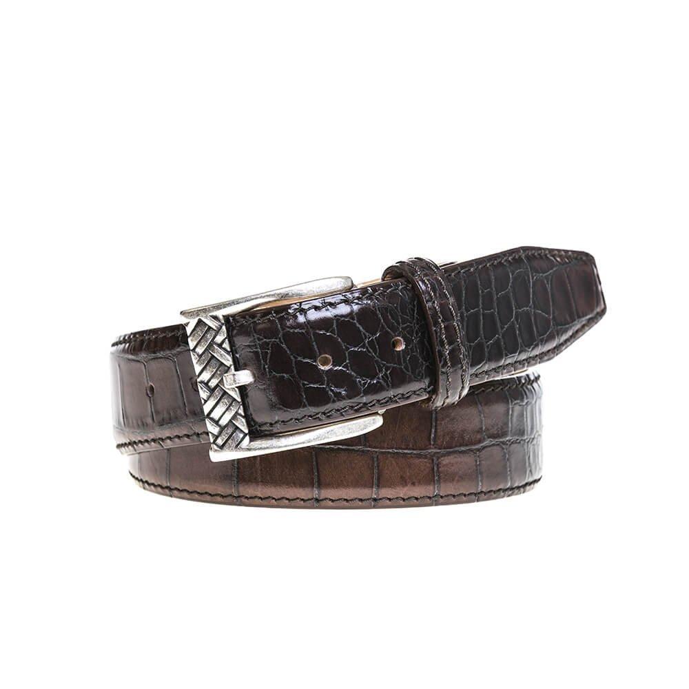 Chestnut Brown Vintage Sunset Mock Croc Belt