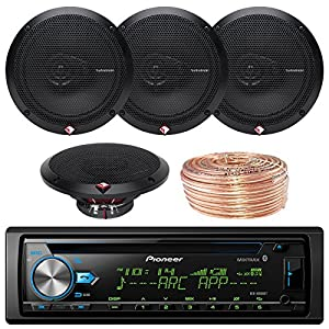 "Pioneer DEH-X6900BT Car CD Player Receiver Bluetooth USB AUX Radio - Bundle Combo With 4x Rockford Fosgate R165X3 6.5"" 180W 3-Way Black Car Coaxial Audio Speakers + Enrock 50 Ft 18 Gauge Speaker Wire"