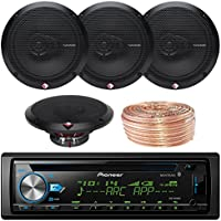 Pioneer DEH-X6900BT Car CD Player Receiver Bluetooth USB AUX Radio - Bundle Combo With 4x Rockford Fosgate R165X3 6.5 180W 3-Way Black Car Coaxial Audio Speakers + Enrock 50 Ft 18 Gauge Speaker Wire