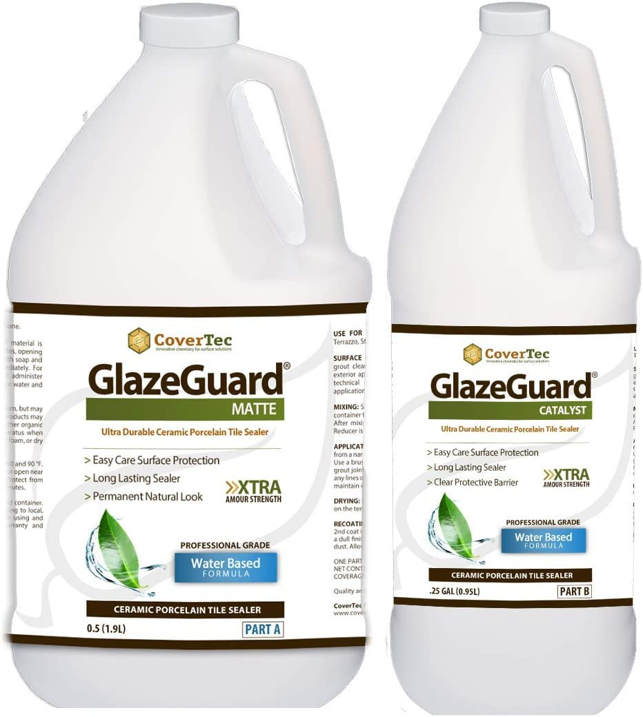 GlazeGuard Matte Floor Sealer Wall Sealer for Ceramic, Porcelain, Stone  Tile Surfaces (6.6 Gal - Prof Grade (6) Part Kit)