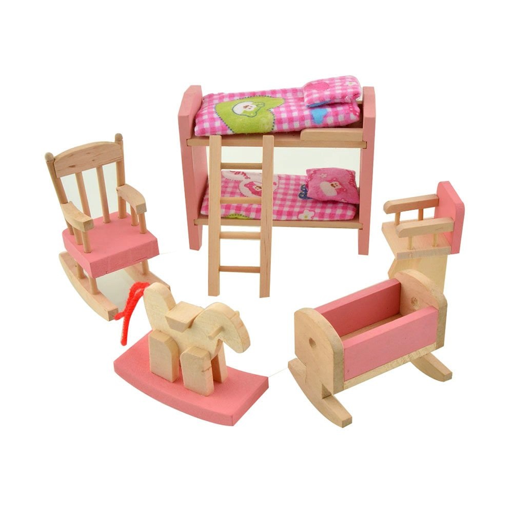 Wooden Doll House Furniture Set Toy For Baby Kids U2013Kids Bedroom 3 Years Old  U0026 Up