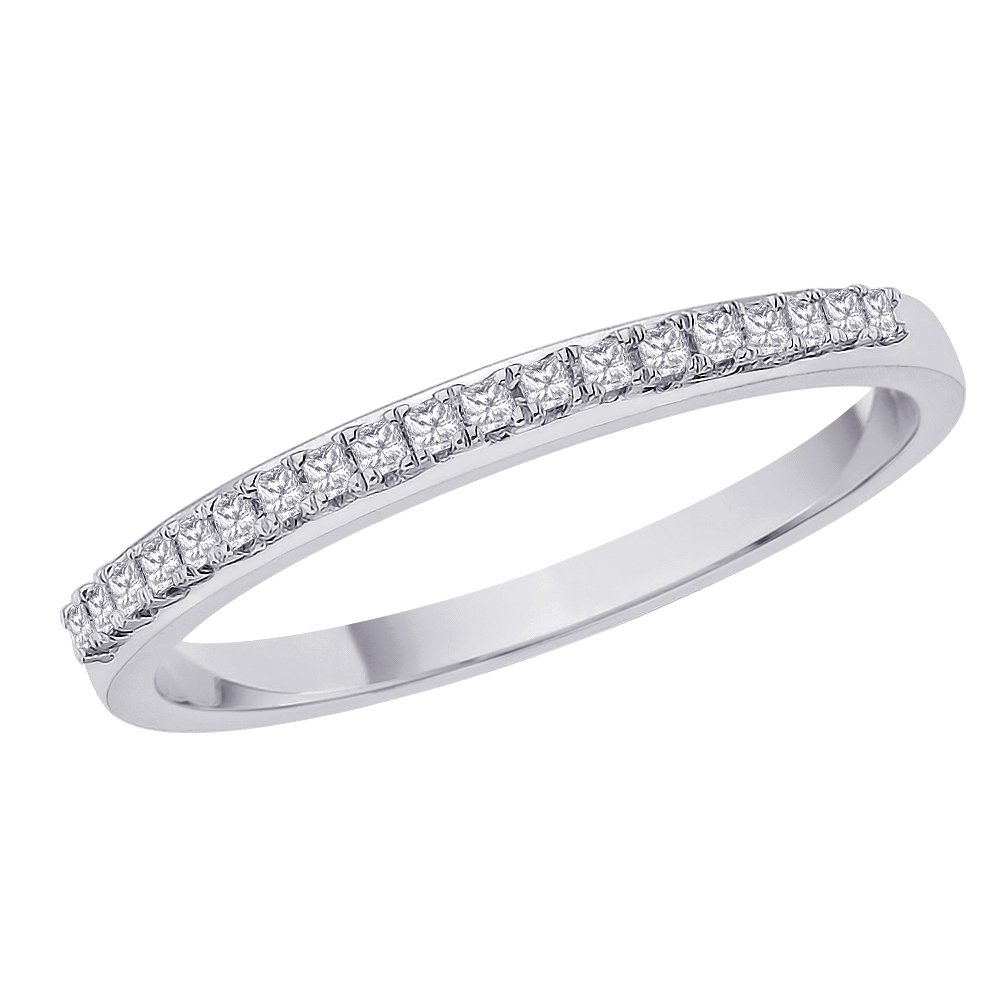Princess Cut Diamond Anniversary Wedding Band Stackable Ring in Sterling Silver (1/10 cttw) (Size-11.5) (Color-HI, Clarity-I1)