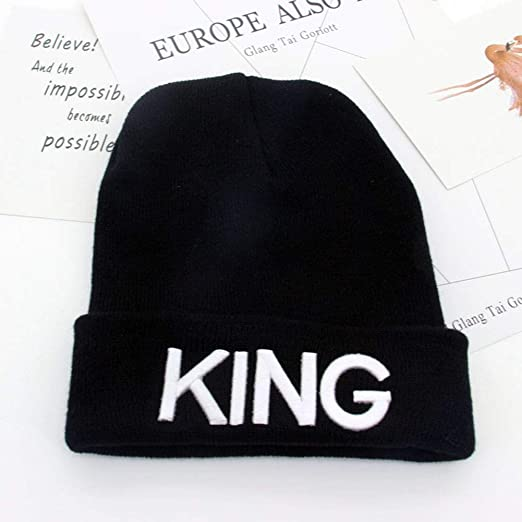 Beanies Cap King Queen Carta Bordado cálido Invierno Sombrero de ...