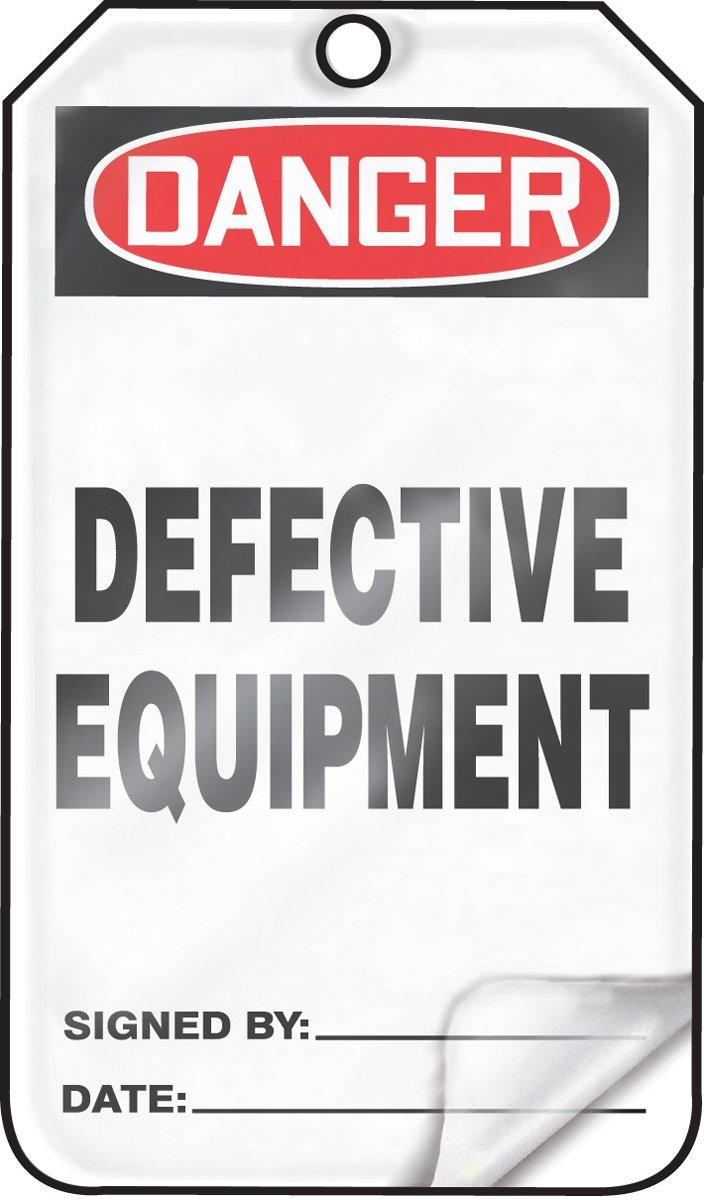 LegendDANGER DEFECTIVE Equipment 5.75 Length x 3.25 Width x 0.024 Thickness Pack of 25 LegendDANGER DEFECTIVE Equipment 5.75 Length x 3.25 Width x 0.024 Thickness Red//Black on White Accuform MDT122LTP HS-LAMINATE SAFETY Tag