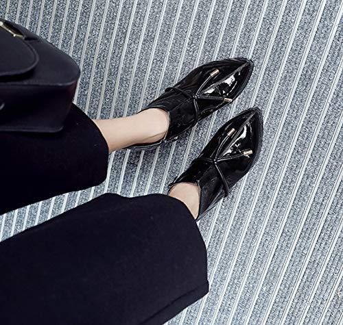 Zippé Pointu Travail Bottine Femme Elégant Bout Nœud Cheville Aisun Noir 8vXwq